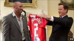 David Cameron with rugby player Gareth Thomas in Downing Street