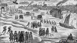 Depiction of the 1683 Thames' frost fair (Getty Images)