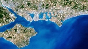 Aerial photo of southern England