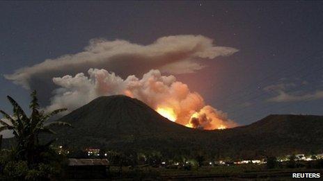 Mount Lokon erupting