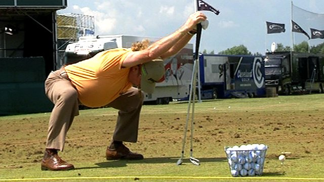Miguel Angel Jimenez and his strange warm-up routine is standing between Woods and the Open Championship title.