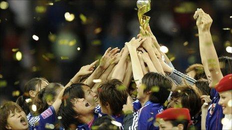 Japan celebrate winning the Women's World Cup