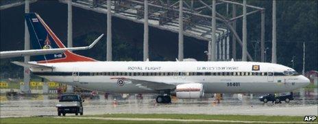 Prince Vajiralongkorn's plane at Munich airport, July 2011