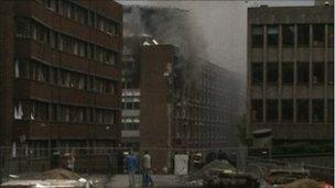 Smoke in downtown Oslo