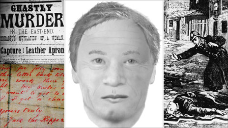 Clockwise from top left: Newspaper report on Ripper murder, new e-fit of suspect Carl Feigenbaum, drawing of police discovering a victim and a letter to the police signed Jack the Ripper