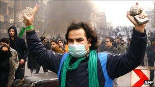 Anti-government demonstrator in Tehran