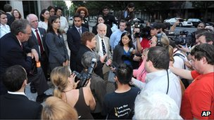 Opponents of the immigration law spoke to reporters after a hearing on 24 August