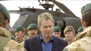 Prime Minister Tony Blair with members of 42 Commando Royal Marines as he met British troops at Camp Bastion in Helmand Province in 2006