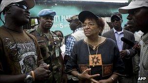 Ellen Johnson Sirleaf addresses supporters in Monrovia. 15 Oct 2011