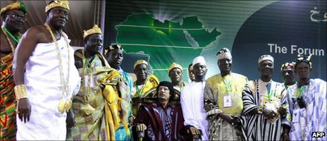 Col Muammar Gaddafi with African traditional leaders (archive shot)