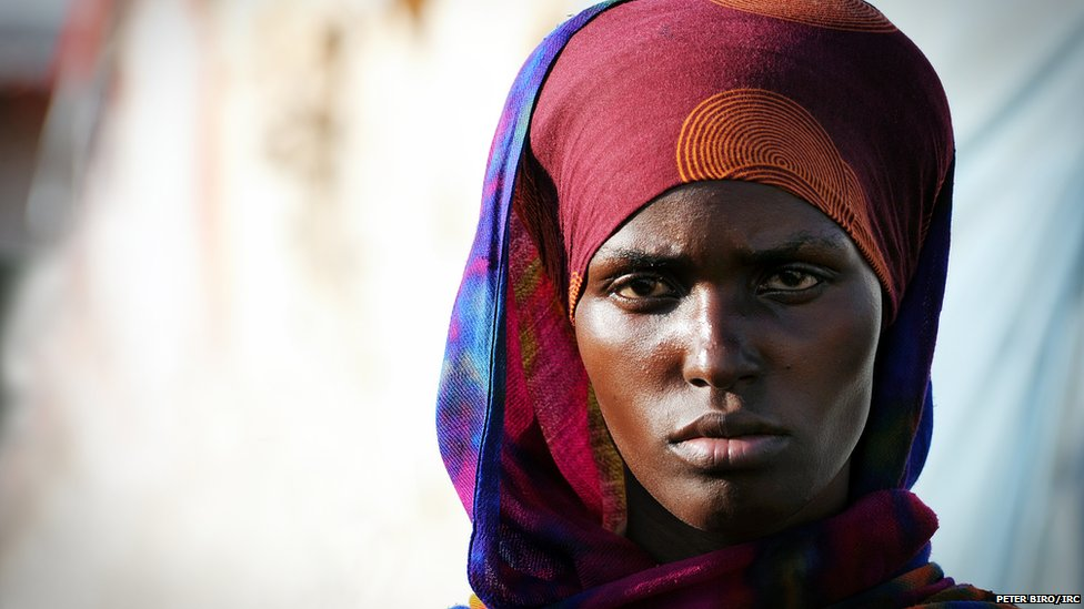 Woman at a a makeshift camp in Galkayo, Somalia