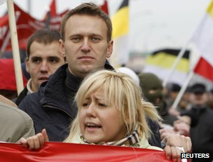 Alexei Navalny (middle of picture) attends the Russian march in Moscow, 4 November