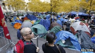 Occupy Wall Street camp in New York (14 Nov 2011)