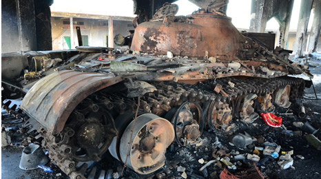 Burnt out tank in Misrata