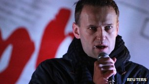 Alexei Navalny speaks at a rally in Moscow on 5 December 2011