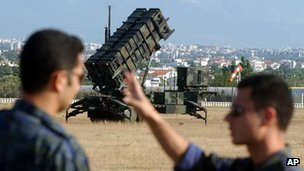 A Patriot missile launcher deployed at Tatoi air base, near Athens, Greece (archive image)