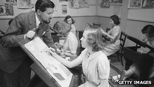Ronald Searle visited an art class in a girls school in 1950