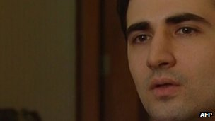 Grab from Iranian state TV allegedly of Amir Mirzai Hekmati confessing to being a CIA spy, aired on 18 December 2011