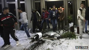 Protesters break into NTC offices in Benghazi, Libya, on 21 January 2012