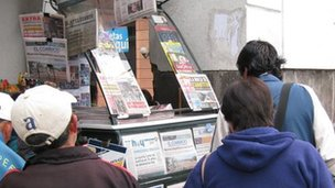 Newspaper stand in Quito