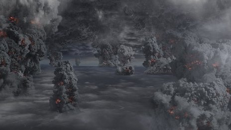 An artist's impression of multiple eruptions as a 'super volcano' explodes into life