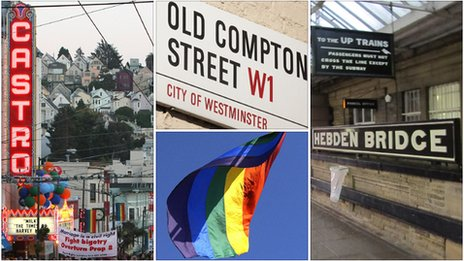 San Francisco's Castro District, Old Compton Street in London's Soho, Hebden Bridge rail station, Gay Pride flag