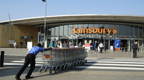 Sainsbury's store and trolleys