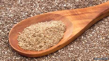 Spoon of ground chia seeds