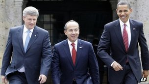 Canadian Prime Minister Stephen Harper, Mexican President Felipe Calderon and US President Barack Obama meet for a North America summit in Guadalajara, Mexico 10 August 2009.