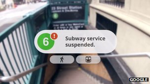 Google glasses warn the subway service is suspended