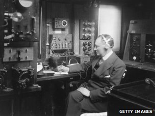 Guglielmo Marconi at work in the wireless room of his yacht Electra