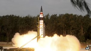 India's Agni-V missile being launched from Wheeler Island off India's east coast