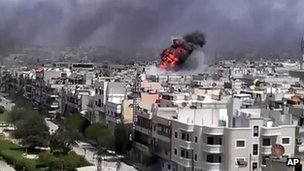 Amateur video purporting to show an explosion in Homs, Syria, on 20 April