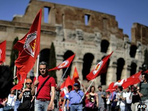 Protests against austerity in Rome by the Coliseum