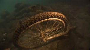 Old bicycles at the bottom of Sydney Harbour