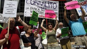 Demonstration by Bankia shareholders in Madrid 23 June