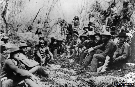 General George Crook, third from right (1829 - 1890) holds council with Apache leader Geronimo, centre left (1829 - 1909) for a three day conference at Canyon de los Embudos, Sierra Madre.