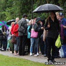 Queuing in the rain at Wimbledon