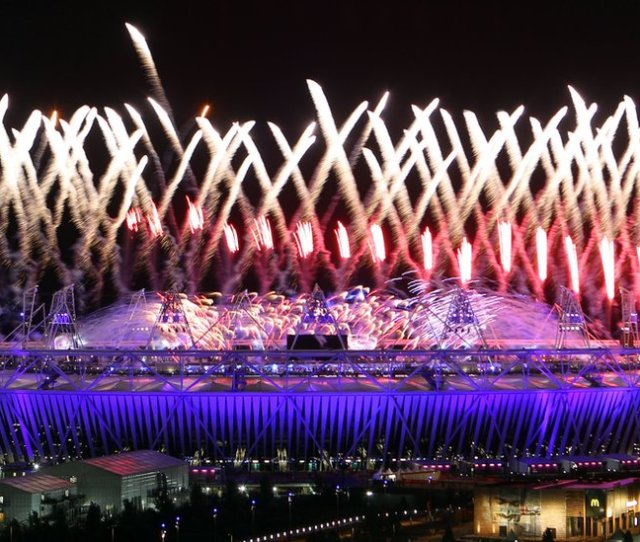 Fireworks At The Opening Ceremony At The Olympic Stadium London