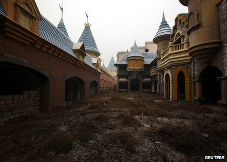 A view of abandoned buildings at the Wonderland theme park outside Beijing, 12 December 2011