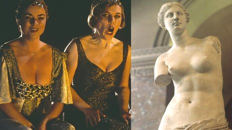 (L)Two musicians playing Rhinemaidens in Wagner's Ring Cycle (R) Venus de Milo