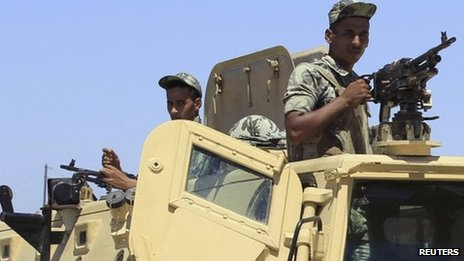 Egyptian soldiers on guard in Sinai, Egypt