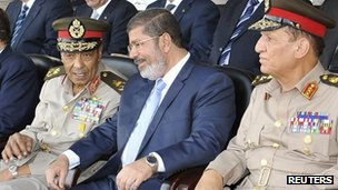 Egyptian President Mohammed Mursi (centre), Field Marshal Mohamad Hussein Tantawi (left) and ex-Chief of Staff Sami Annan. Photo: July 2012