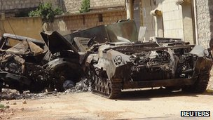 Damaged tanks in Aleppo. 14 Aug 2012