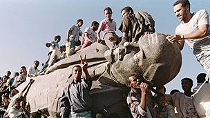 Toppled statue of Lenin in Ethiopia