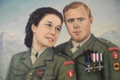 A painting depicting Danuta and her husband