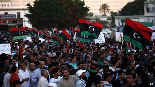 Libyans march against Ansar al-Sharia in Benghazi. 21 Sept 2012