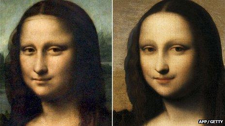 Leonardo Da Vinci's Mona Lisa, which hangs in the Louvre in Paris (left) and the Isleworth Mona Lisa