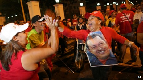 Chavez supporters in Caracas. 8 Oct 2012