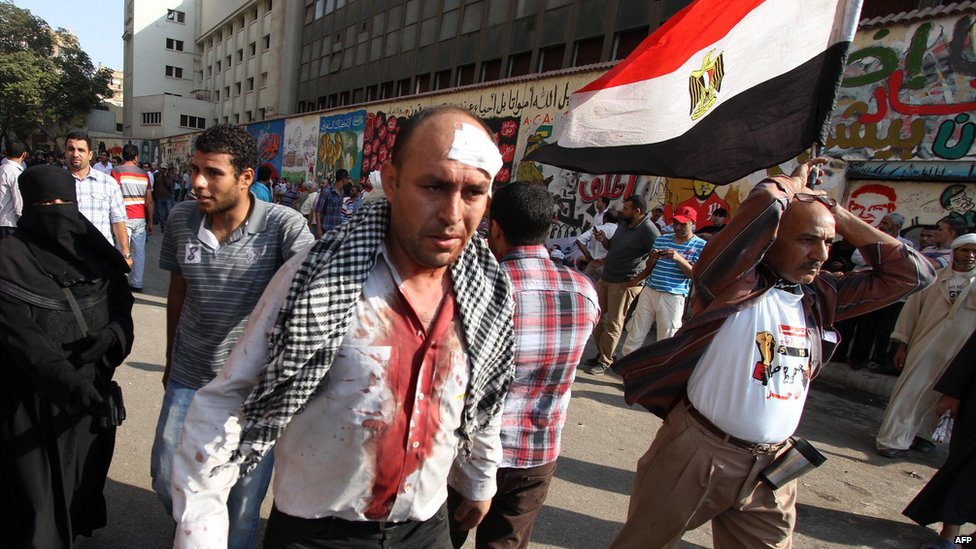 Injured protester in Tahrir Square. 12 Oct 2012